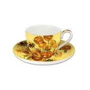 Чашка с блюдцем Подсолнухи (Ван Гог), в подарочной упаковке