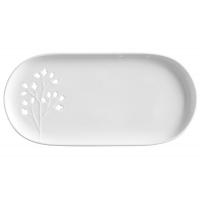 Тарелка овальная, белая Листья в подарочной упаковке