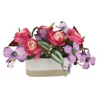 Декоративные цветы Розы малиновые с сиреневыми цветами в керамической вазе