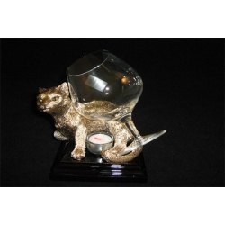 Бокал для коньяка с подогревателем «Кот» золотой