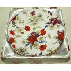 Набор из 6 обеденных тарелок «Маки и ромашки» 25 см