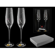 Набор бокалов для шампанского (2 шт) «Розовая стрекоза»