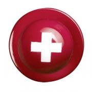 Пукли «Флаг Швейцарии» [12шт], пластик, красный,белый