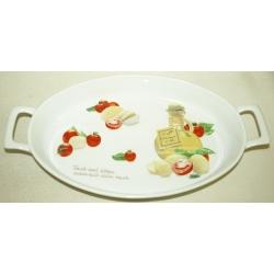 Блюдо овальное с ручками «Помидоры и моцарелла» 31х21 см
