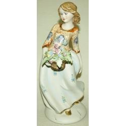 Статуэтка «Девочка с цветами в корзинке» 25 см. (цветная)