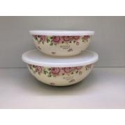 Японский эмалированный набор из 2х лотков, серия «Розы»