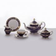 Сервиз чайный на 6 перс. 21 пред. подарочный «Ювел синий»