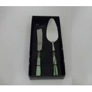 Набор 2 пр. для торта: лопатка+нож «Наполеон» с перламутровыми ручками Зеленый