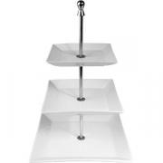 Этажерка 3-х ярусная квадр. для дес. «Кунстверк» 16,19,25см, фарфор,сталь, H=42см, белый,металлич.