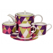 Сервиз чайный 17 предм.на 6 персон «Минотти Фиолетовый»