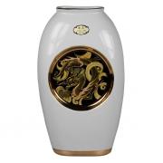 Ваза 25 см белая плоская Золотой дракон (black)