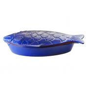 Форма для запекания 46х23 см с крышкой синяя Рыба