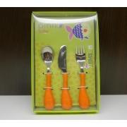 Набор 3пр.: ложка, вилка, нож «Рыбка» оранжевый