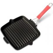 Сковорода гриль чугунная, 24х24 см, цвет черный