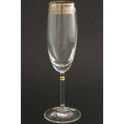 Бокал для шампанского 175 мл «Глория» панто + платина по декору +золотая кайма над декором и декорация золотом деталей на ножке