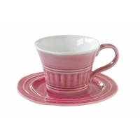 Чашка с блюдцем (тём.розовый) Abitare без инд.упаковки