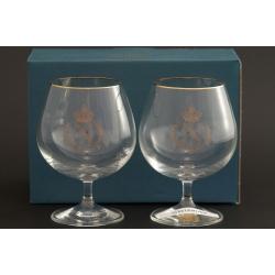 Набор из двух бокалов для бренди 400 мл «Гала» выполнен в декоре панто+втертое золото