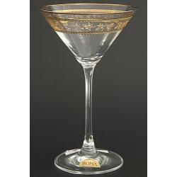 Рюмка для мартини 180 мл «Эсприт» оптика декор панто сочетание втертого золота и золотых полос через часть декора + золотая кайма по краю рюмки