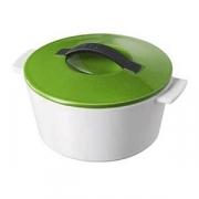 Кастрюля для запекания с крышкой, керамика, 200мл, D=105,H=70мм, белый,зелен.
