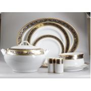 Сервиз обеденный 12 перс 55 пр серебро с золотом