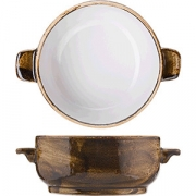 Бульонная чашка «Крафт» без крышки, фарфор, 455мл, D=125,H=56,L=163мм, коричнев.