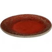 Тарелка бетон D=14см; красный, серый