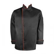 Куртка поварская с окант. 54-56разм., твил, черный,красный