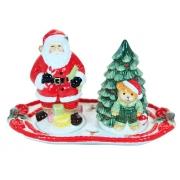 Набор для специй на подставке, 13,5 см, Дед Мороз с елкой