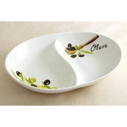 Блюдо овальное 2-х секционное «Оливки»  25х20 см