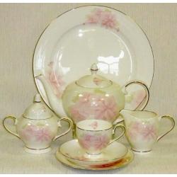 Чайный сервиз «Розовые цветы» на 6 персон 21 предмет