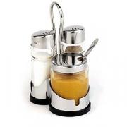 Набор для специй соль,перец,горчичница, стекло,сталь нерж.