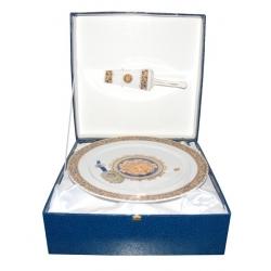 Набор для торта Depos Bacco Blu, фарфор, декор под золото высота 11.5см,диам 30.5см