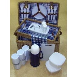 Набор для пикника из морской травы с подносом на 6 персон (сине-белая клетка)