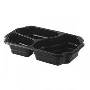 Контейнер для подачи еды (3 ячейки) [246шт], пластик, H=48,L=255,B=162мм, черный