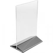Подставка наст. для меню А5 серебр. осн. H=220, L=155, B=95мм