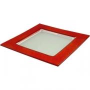 Тарелка квадр «Бордер» 25*25см красная