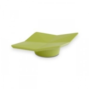 Блюдо фуршетн. на ножке H=2.5, L=15, B=8.5см; зелен.