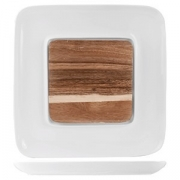Блюдо для стейка,сыра «Кунстверк», фарфор,дерево, D=26,H=2,L=26,B=26см, белый,бежев.