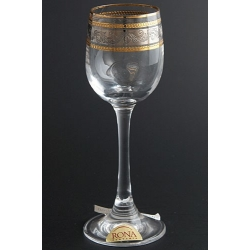 Рюмка для ликера 060 мл «Эсприт» оптика панто декор комбинация платины и золота +золотая кайма по краю рюмки