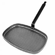 Сковорода-гриль прям.38*26см белая сталь