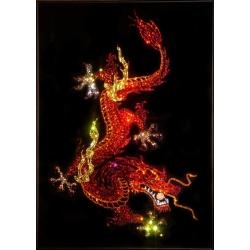 Дракон (огненный)с жемчужиной, 50х70 см, 5528 кристаллов