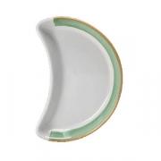 Блюдо-полумесяц «Рио Грин»; фарфор; L=25.5см; белый,зелен.