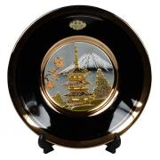 Тарелка декоративная 15 см черная с подставкой Пагода в сакуре (silver)