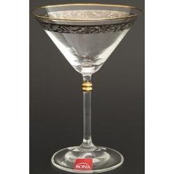 Рюмка для мартини 180 мл «Глория» панто + платина по декору +золотая кайма над декором и декорация золотом деталей на ножке
