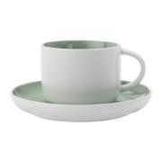 Чашка с блюдцем Оттенки (мятная) без инд.упаковки