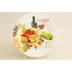 Набор из 4-х тарелок «Сыр, вино и виноград» 19 см