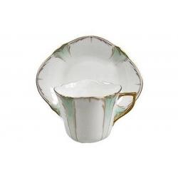 Чашка с блюдцем белая с зеленым в подарочной упаковке