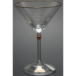 Рюмка для мартини 180 мл «Глория» декор золотая кайма по верху рюмка+ отделка золотом деталей на ножке