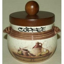 Банка для сыпучих продуктов с деревянной крышкой (кофе) «Кухня» 0,5 л