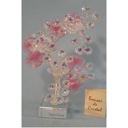 Бонсай с хризантемами розовый, 22см.